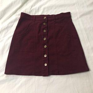 NWOT burgundy skirt